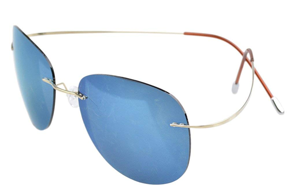 d0231a807 Eyekepper Sunglasses Polarized Rimless Titanium Frame Gold/Blue Mirror S1501