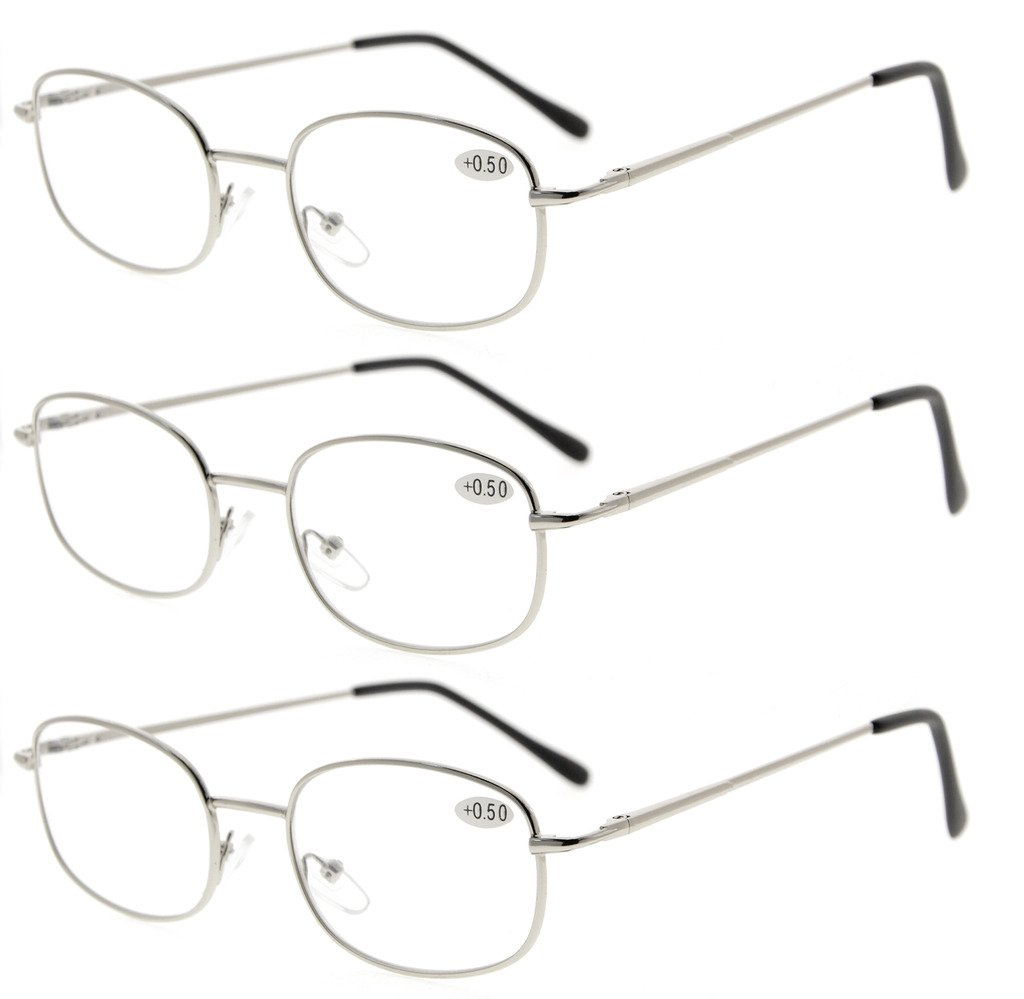 99c24628121 Eyekepper 3 Pairs Metal Frame Spring Hinged Arms Reading Glasses Silver  R3232-3pcs