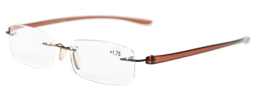 898a7c6088a Reading Glasses Small Lenses Rimless Readers Brown Arm R14001 Item NO   R14001-Brown Arm