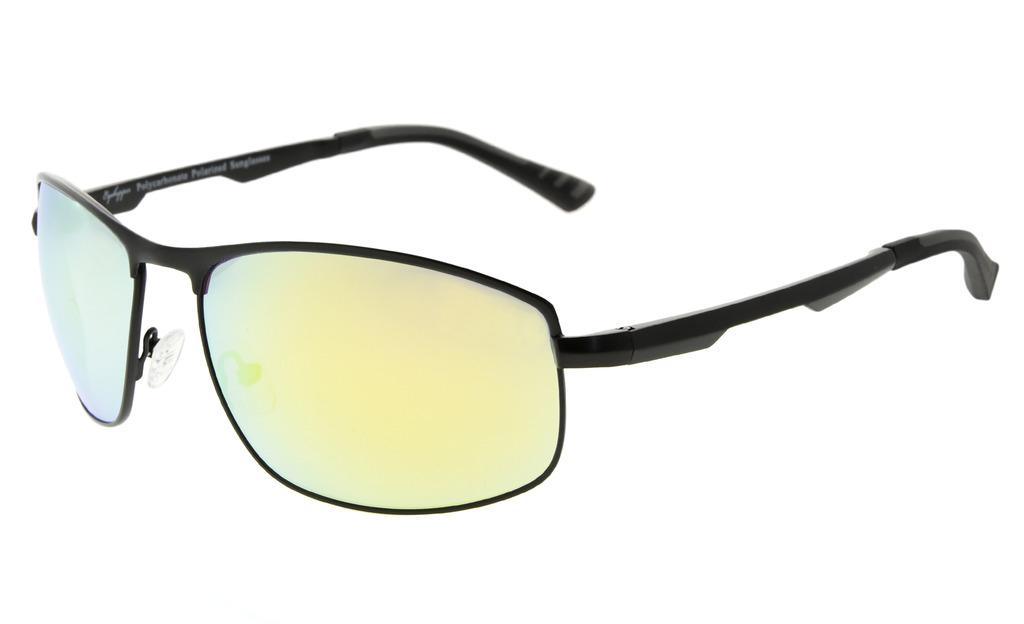 c62da1812e572 Polarized Sunglasses Metal Frame Spring Hinges Polycarbonate Lens Black Gold  Mirror PCPG801. Loading zoom