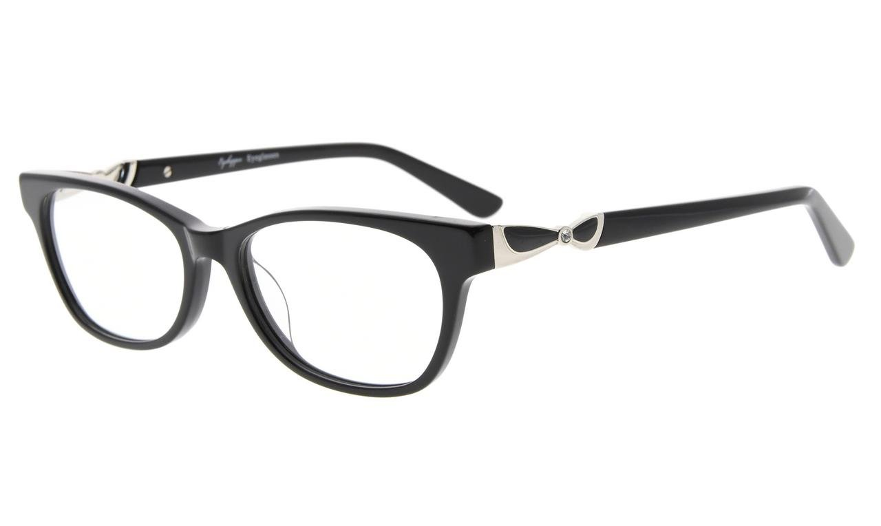 f7545b68ead8 Eyekepper Eyeglasses Optically Correct Rx-able Acetate Frame Quality Spring  Hinge for Ladies Black FA0073
