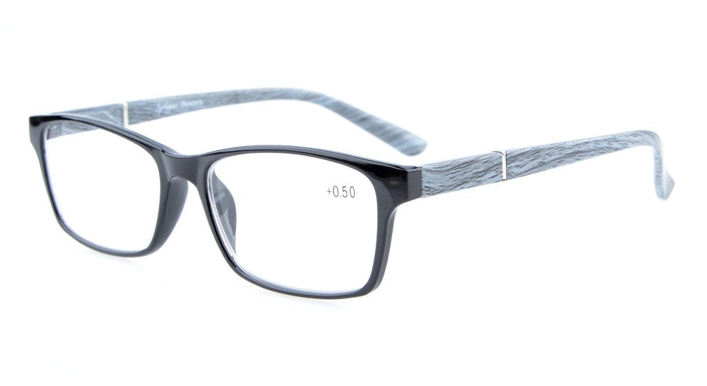 c32f2cbb9e76 Eyekepper Reading Glasses Spring Hinges Wood-Look Arms Crystal Clear Vision Reader  Black-Grey RE19042