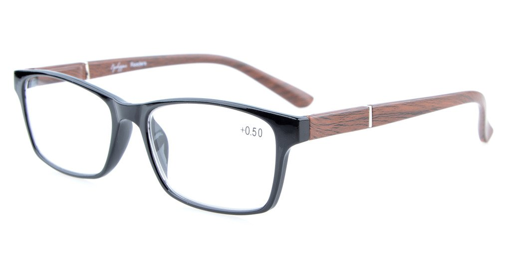 96a83d7b1942 Eyekepper Reading Glasses Spring Hinges Wood-Look Arms Crystal Clear Vision Reader  Black-Brown RE19042