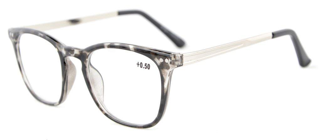 aadd5d5286c Eyekepper Reading Glasses Retro Square Plastic Frame Metal Arms Readers  Grey RJ003