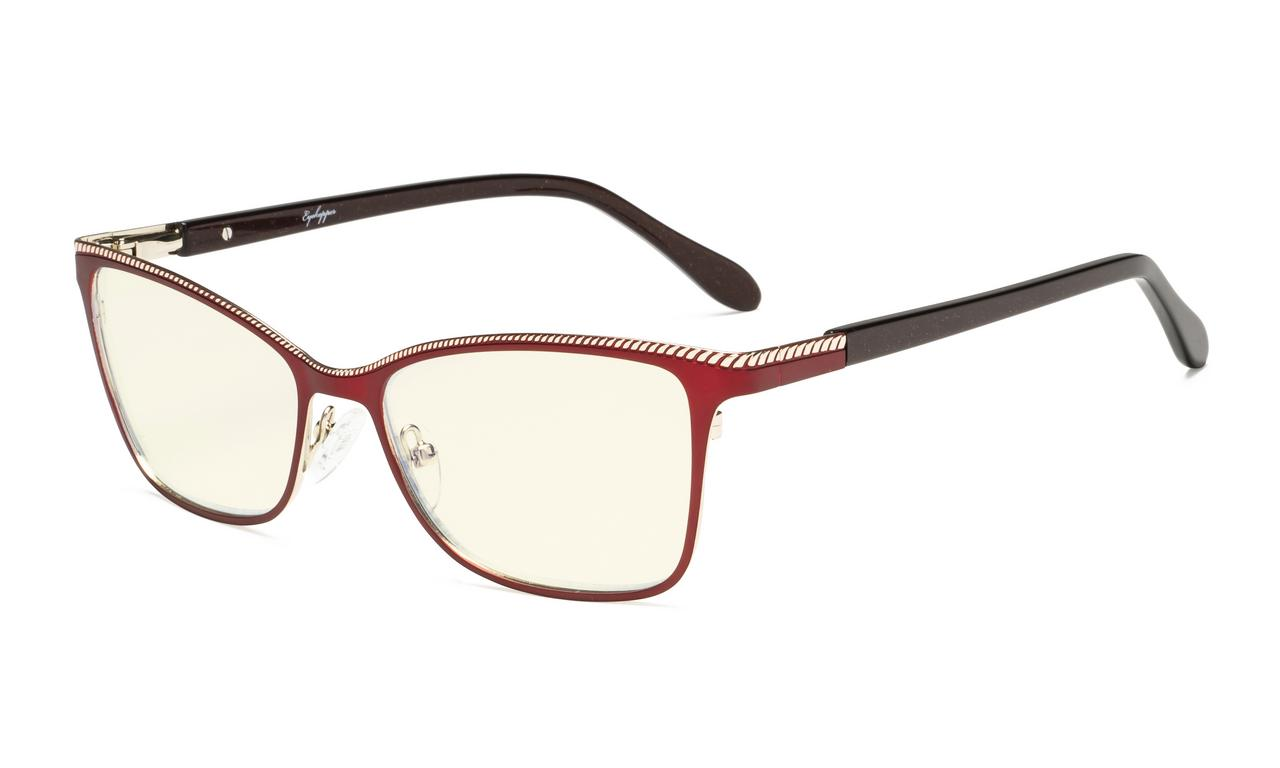 a0d62f7eb440 Eyekepper Computer Reading Glasses,Blue Light Filter Readers,Square Design  for Women,Burnout Double Color Frame,Red-Gold LX17020