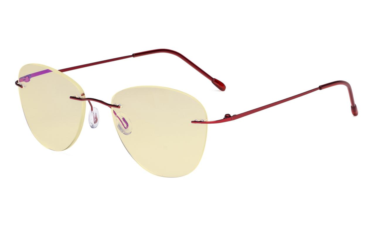 a8ff76a0a1f5 Eyekepper Computer Reading Glasses Blue Light Blocking with Yellow Filter  Lens -Rimless Pilot Readers Women,Red TMWK9901B