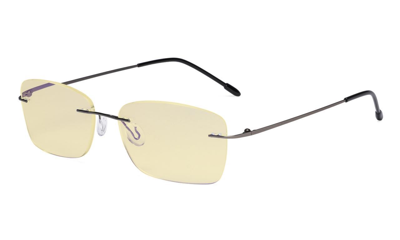 839c8b04009f Eyekepper Computer Glasses Women - Blue Light Blocking Readers with Yellow Filter  Lens - Lightweight Rimless Reading Eyeglasses,Gunmetal TMWK9905B