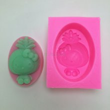 BN023 Pineapple girl silicone soap mold chocolate wedding cake decorating tools DIY Kitty silicone mould