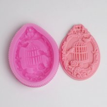 BC023 Pendant silicone mold Bird cage die clay soap chocolaate molds baking mold