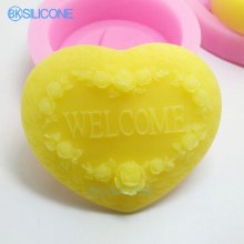 Silicone Mold Welcome Heart Shaped Craft Molds DIY Handmade Cake Molds Rose AN019
