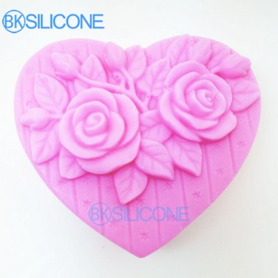 Rose Silicone Sugarcraft Moulds Baking Supplies Heart Love Silicone Soap Mold AO023