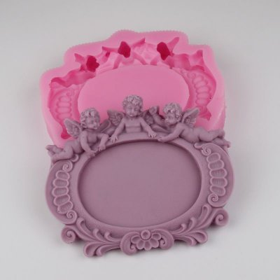 BG015 three baby angels Photo frame molds silicone soap Molding Resin Clay mould