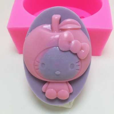 BN025 Apple kitty silicone soap mold cake decorating tools silicone mould