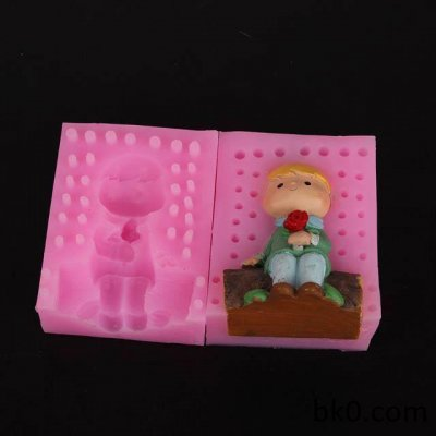 silicone cake molds 3d boy sitting candle mold soap molds WA007