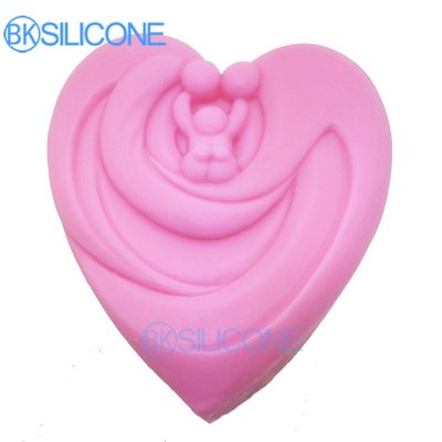 Heart Shaped 3D Silicone Mold For Soap Candle Making Baby Dad Mom Mould Diy Craft Molds AP002