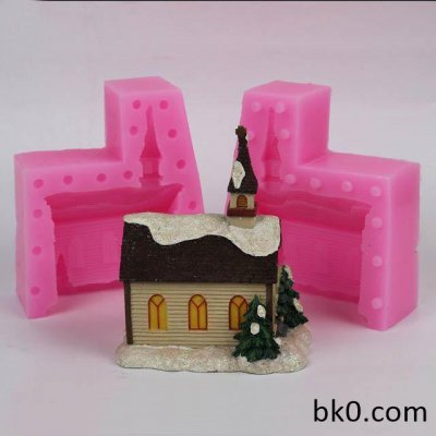 Beautiful Small House 3D Silicone Mold Sugarcraft Cake Decorating Fondant Tools Tree Mould WC022