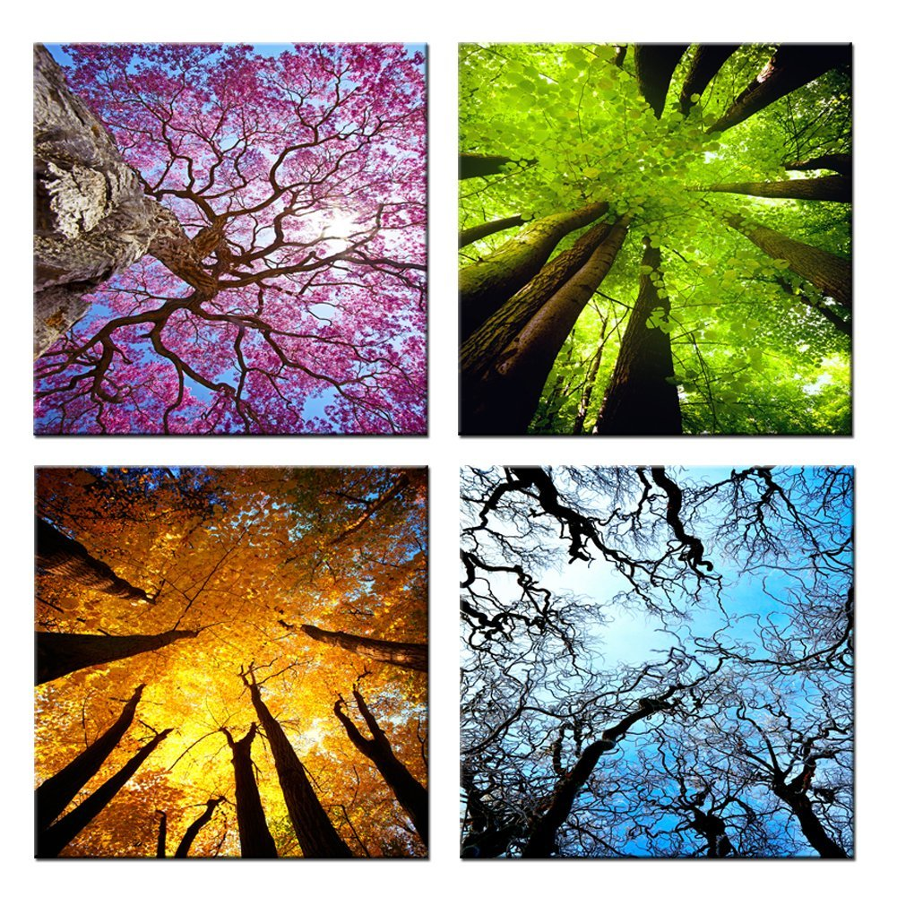 Amosi Art 4 Panels Canvas Wall Art Spring Summer Autumn Winter Four Seasons Landscape Color Tree Painting Picture Prints Modern Giclee Artwork For