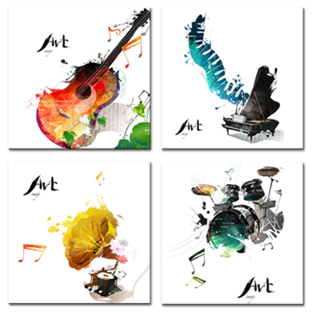 4 piece canvas wall art hand painted pieces canvas wall art guitar piano phonograph and drum set four kinds of classical music instruments picture painting giclee for home decor