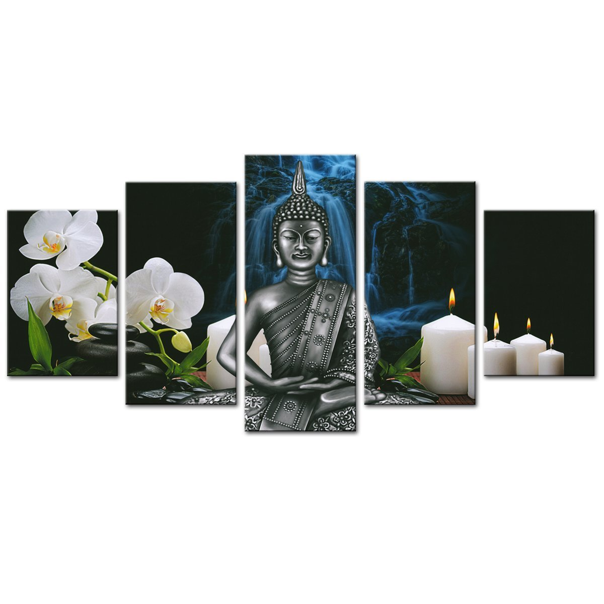 Amosi art buddha canvas wall art orchid flower and candles picture prints on canvas for living room decor artwork with stretch frame