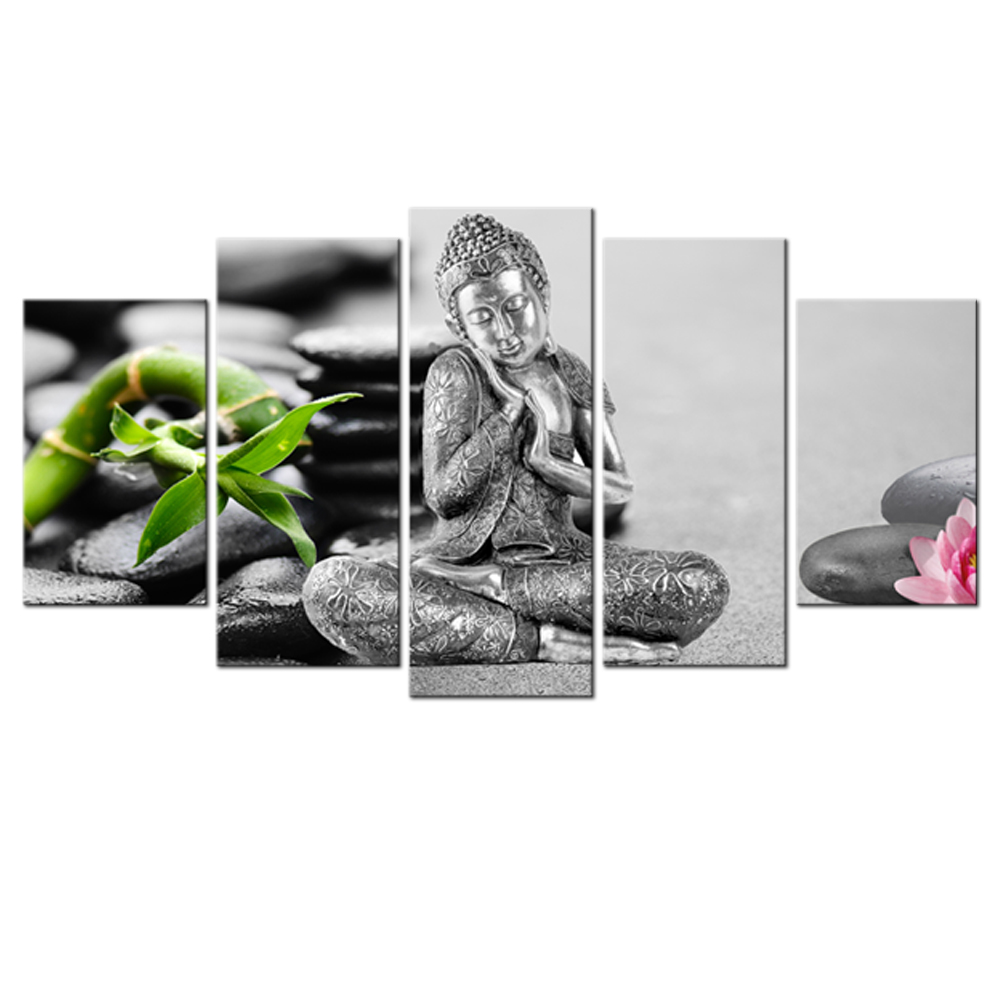 Canvas Wall Art Buddha with Bamboo-leaf cobblestone background ...