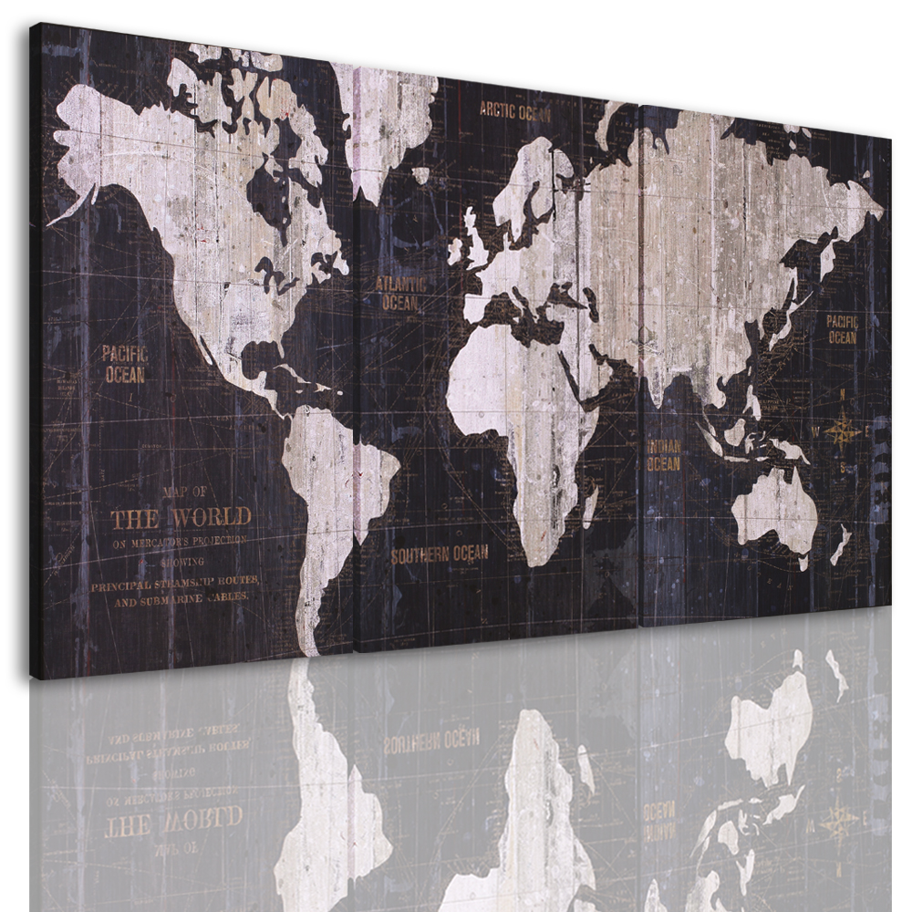 Canvas Painting Abstract World Map Picture Printed On Canvas