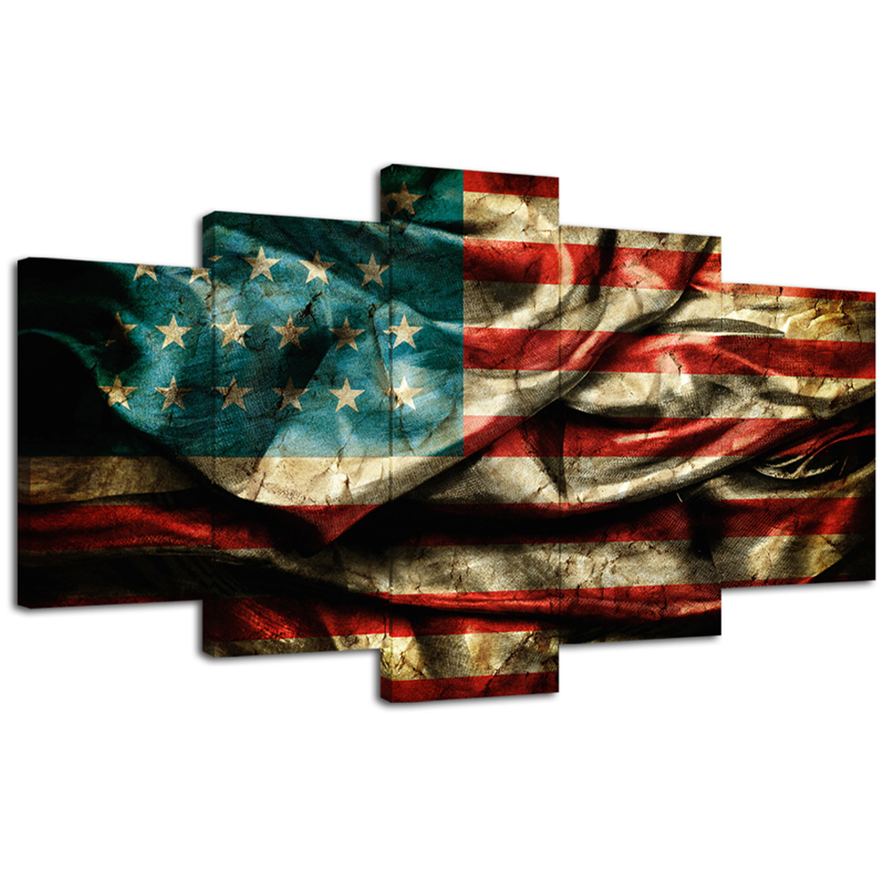 c7e1b729e5e Amosi Art-Retro American Flag Canvas Painting Print Wall Art Vintage Flag  Paintings Giclee Artwork for Living Room Wall Decoration 5 Panels Stretched  and ...