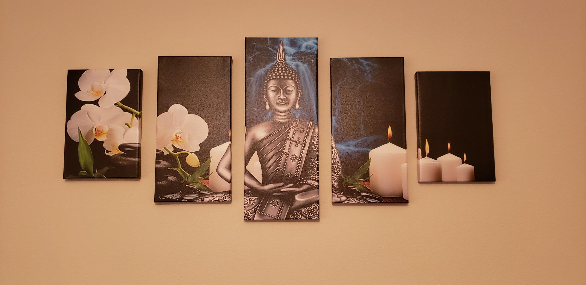 5 Panel Wall Art Painting Abstract Buddha Picture Prints On Canvas