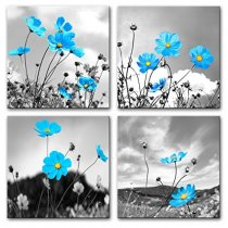 Amosi Art-Modern Wall Art Innovative Blue Black and White Background Chrysanthemum Flowers Picture Print on Canvas Landscape Stretched and Framed Ready to Hang for Home Decoration