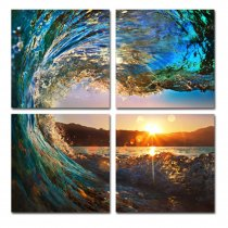 Amosi Art-4 Panels Rolling Ocean Wave Painting Sunset on Sea Seascape Canvas Painting Wall Art Picture Print Giclee Artwork Stretched and Framed for Home Decor Ready to Hang