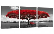 Amosi Art-3 Panels Canvas Wall Art Red Tree Picture Prints on Canvas Landscape Painting Modern Giclee Artwork Stretched and Framed Ready to Hang Canvas Art for Home Decoration