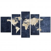 Amosi Art-Canvas Painting Abstract World Map Picture Printed on Canvas Giclee Artwork Stretched and Framed Wall Art For Living Room Home Decor Ready to Hang (Navy Large)5 Panels