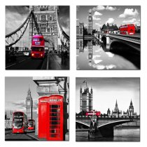 Amosi Art - Canvas Print Wall Art Painting 4 Panels London Street Scene Classical Red London Bus,Bridge and Tower City Painting Modern Art Picture Stretched by Framed Ready to Hang for Living Room Home Decoration