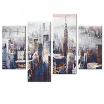 Amosi Art-4 Panels Abstract Canvas Painting Colorful New York City Landscape Picture Printed on Canvas Giclee Artwork Stretched and Framed Wall Art For Home Decor
