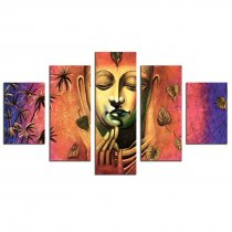 Amosi Art-5 Panel Wall Art Painting Abstract Buddha Picture Prints on Canvas Buddha Canvas Wall Art the Picture for Modern Home Living Room Decoration
