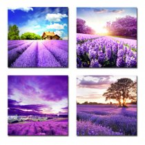 Amosi Art-4 Panels Tulip and lavender Fiel Wall Art Colorful Flowers Canvas Painting  for Modern Home Decoration