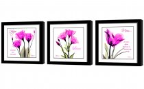 Amosi Art-Pink  Elegant Tulip Flowers European style decoration Wall Art Painting for Modern Home Decoration With Black Framed Ready to Hang