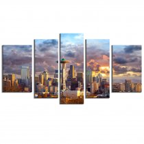 Amosi Art-Canvas Printings 5 Panels Seattle High Building Sunset Picture City Landscape Painting Prints on Canvas Wall Art for Modern Home Decoration with Stretched by Framed Ready to Hang