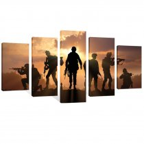 Amosi Art-5 Pieces Modern Canvas Painting American Soldiers Picture Printing On Canvas Stretched and Framed Giclee Artwork For Home Decor