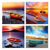 Amosi Art-4 Panels Little Boat Picture Seascape Painting Wall Art Canvas Painting For Modern Home Decor With Stretched or Black Framed