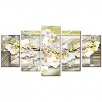 Amosi Art-5 Panels Wall Art Butterfly Orchid Flowers with Abstract line background Decorative painting for Home Living Room Decor
