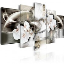 Amosi Art-5 Panels Orchid with Abstract Diamond White lines background canvas printings for home decor