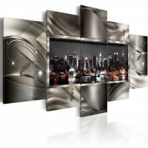 Amosi Art-5 Panels Wall Art  Night View of American Cities with Abstract background Canvas Painting for Home Living room decor