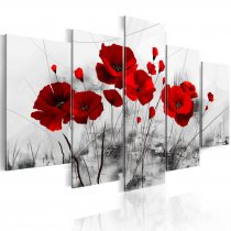 Amosi Art-5 PCS Red Poppy with Black and white ink grass background Canvas Printings for living room decor