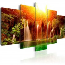 Amosi Art-5 Panels Canvas Painting a beautiful waterfall in the forest for home decoration