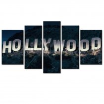 Amosi Art-5 Pcs Canvas Printings Hollywood signs in the Night Picture Artwork for Living Room Home Decoration