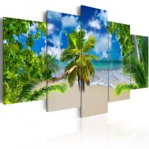 Amosi Art-5 Panels Wall Art Blue Sky Coconut Tree Island scenery Canvas Painting For Home Living Room Decoration