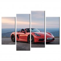 Amosi Art-4 Pandel Wall Art Red Porsche Coupe Sports Car Canvas Printings Painting for Home Decoration