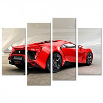 Amosi Art-4 Pandel Wall Art Red W Motors Sports Car Canvas Printings Painting for Home Decoration