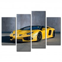 Amosi Art-4 Pandel Wall Art Yellow Lamborghini Sports Car Canvas Printings Painting for Home Decoration