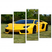 Amosi Art-4 Pandel Wall Art Yellow Lamborghini Sports Car on the Lawn Canvas Printings Painting for Home Decoration